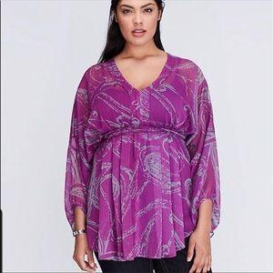 fuchsia & grey kimono style sheer blouse.